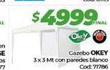 Oferta de Gazebo OKEY 3x3mt con paredes blanco  por $4999