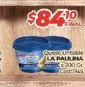 Oferta de Queso untable La paulina x 200gr  por $84,1