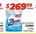 Oferta de Jabon en polvo Zorro x 3kg por $269,99