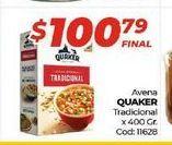 Oferta de Avena Quaker tradicional x 400gr  por $100,79