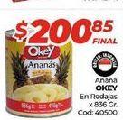 Oferta de Ananás Okey en rodajas x 836gr  por $200,85