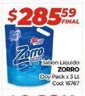 Oferta de Jabón líquido Zorro doypack x 3lt  por $285,59