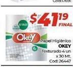 Oferta de Papel higiénico Okey texturado x 4 un. por $41,19