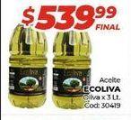 Oferta de Aceite de oliva Ecoliva x 3lt  por $539,99