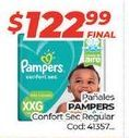 Oferta de Pañales Pampers confort sec regular  por $122,99