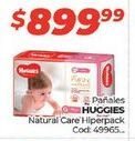 Oferta de Pañales Huggies natural care hiperpack por $899,99
