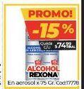 Oferta de Alcohol Rexona en aerosol x 75gr  por