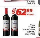 Oferta de Vino Toro tinto clasico x 720ml  por $62,89