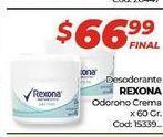 Oferta de Desodorante Rexona odorono crema x 60gr  por $66,99