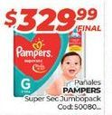 Oferta de Pañales Pampers super sec jumbopack por $329,99