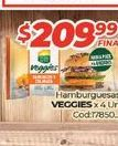 Oferta de Hamburguesas VEGGIES X 4UN. por $209,99