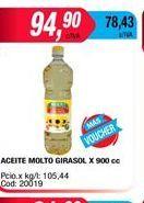 Oferta de Aceite de girasol Molto x 900cc por $94,9