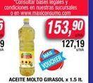 Oferta de Aceite de girasol Molto 1,5lt  por $153,9