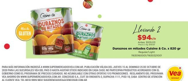 Oferta de Duraznos en mitades Cuisine & Co x 820gr  por $94