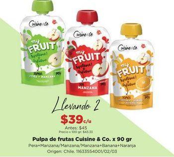 Oferta de Pulpa de frutas Cuisine & Co x 90gr  por $39