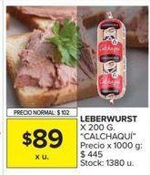 Oferta de Leberwurst Calchaqui por $89