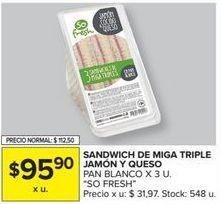 Oferta de Sandwiches de miga triple jamón y queso por $95,9