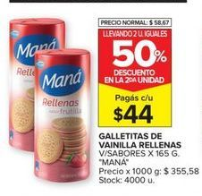 Oferta de Galletas rellenas Mana por $44