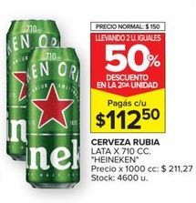 Oferta de Cerveza rubia Heineken por $112,5