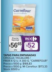 Oferta de Masa de empanada Carrefour por $56,65