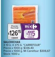 Oferta de Salchichas Carrefour por $126,15