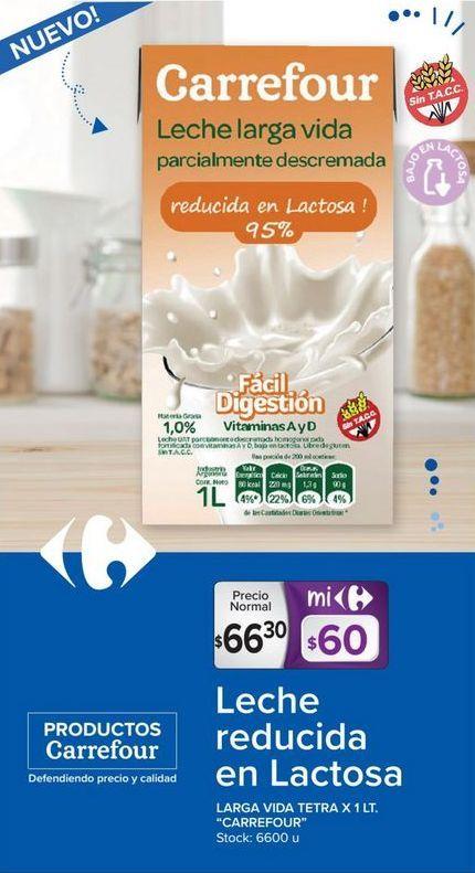 Oferta de Leche semidescremada Carrefour por $66,3