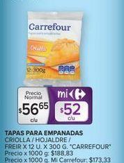 Oferta de Tapa para empanadas criolla/hojaldre freir x 12un. x 300gr CARREFOUR  por $56,65