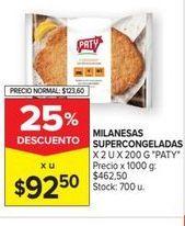 Oferta de Milanesas supercongeladas x 2un x 200gr PATY  por $92,5