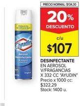 Oferta de Desinfectanteen aerosol v/fragancias x 332cc AYUDIN  por $107