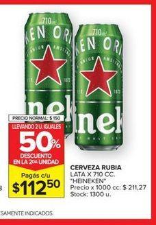 Oferta de Cerveza RUBIA LATA X 710CC  Heineken por $112,5