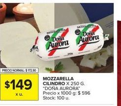 Oferta de Mozzarella cilindro x 250g DOÑA AURORA  por $149