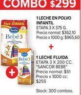 Oferta de Leche en polvo infantil etapa 3 x 375gr + 1 leche fluida etapa 3 x 200cc Sancor bebe  por $299