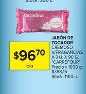 Oferta de Jabon de tocador cremoso v/fragancias x 3un. x 90gr CARREFOUR  por $96,7