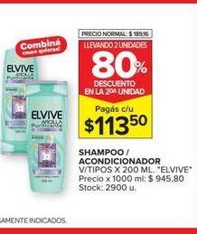 Oferta de Shampoo/acondicionador  v/tipos x 200ml  Elvive por $113,5