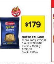 Oferta de Queso rallado flow pack x 150g LA SERENISIMA  por $179