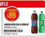 Oferta de Gaseosas Pepsi cola o seven up 1,25lt por $89