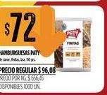 Oferta de Hamburguesas Paty por $72