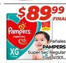 Oferta de Pañales Pampers super sec regular  por $89,99