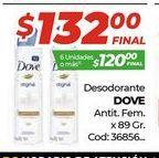 Oferta de Desodorante Dove antit. fem x 89gr  por $132