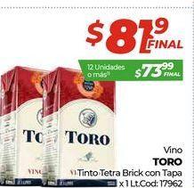 Oferta de Vino tinto Toro tetra brick con tapa x 1lt  por $81,9