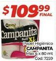 Oferta de Papel higiénico Campanita por $109,99