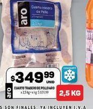 Oferta de Cuarto trasero de pollo Aro  por $349,99