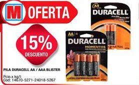 Oferta de Pilas alcalinas Duracell por