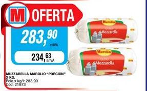 Oferta de Mozzarella Marolio porcion  por $283,9