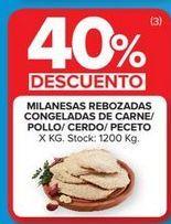 Oferta de Milanesas rebozadas congeladas de carne/pollo/cerdo/peceto  por