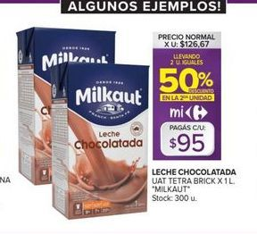 Oferta de Leche chocolatada UAT tetra brick x 1lt MILKAUT  por $95