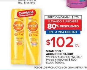 Oferta de Shampoo/acondicionador Sedal v7tipos x 340cc  por $102