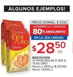 Oferta de Bizcochos v/tipos bolsa x 200g  por $28,5