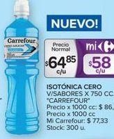 Oferta de Bebida isotónica cero v/sabores x 750cc CARREFOUR  por $64,85