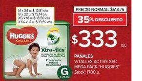 Oferta de Pañales v/talles active sec mega pack HUGGIES  por $333